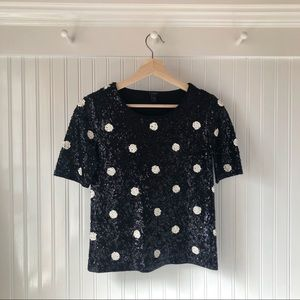 Black & White Polka Dot Sequin Tee